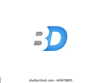 Abstract letter B D. lovely logo design template. B D Vector letter logo with grey and blue color.