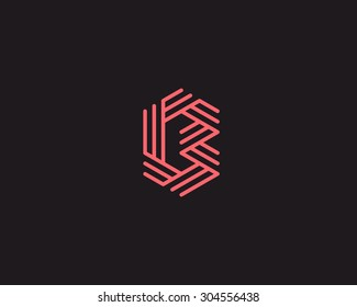 Abstract letter B logo design. Line creative symbol. Universal vector icon.