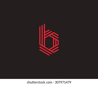 Abstract Letter b logo design template. Line vector symbol. Premium elegant sign mark icon