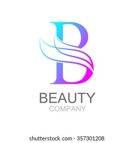 Abstract letter B logo design template with beauty industry and fashion logo.cosmetics business, natural,spa salons. yoga, medicine companies and clinics