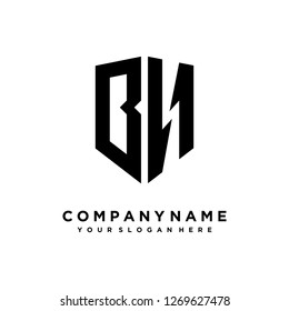Abstract letter B N shield logo design template
