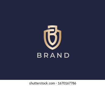Abstract letter B shield logo design template. Monogram of two letters BO or OB.
