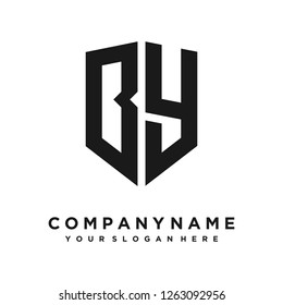 Abstract letter B Y shield logo design template