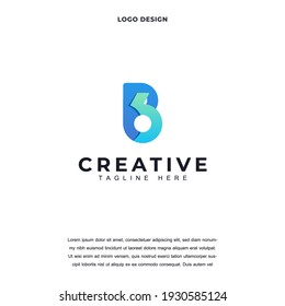Abstract Letter B6 or 6B with gradien color icon logo design vector illustration. Letter B6 and 6B luxury company branding Creative logo design