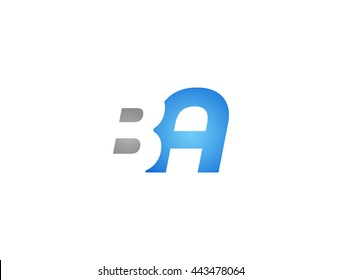 Abstract letter BA. lovely logo design template. BA Vector letter logo with grey and blue color.
