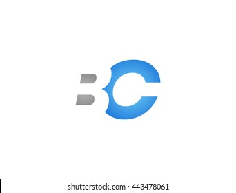 Abstract letter BC. lovely logo design template. BC Vector letter logo with grey and blue color.