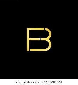 Abstract letter BF FB. minimal logo design template. Vector letter logo with gold and black color.