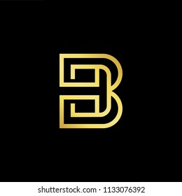 Abstract letter BH HB. minimal logo design template. Vector letter logo with gold and black color.
