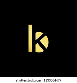 Abstract letter BK KB. minimal logo design template. Vector letter logo with gold and black color.