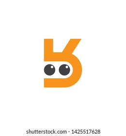 abstract letter bk simple cute eye character logo vector