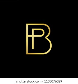 Abstract letter BP PB. minimal logo design template. Vector letter logo with gold and black color.