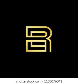 Abstract letter BR RB. minimal logo design template. Vector letter logo with gold and black color.