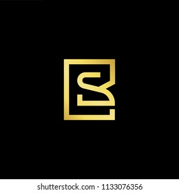 Abstract letter BS SB. minimal logo design template. Vector letter logo with gold and black color.