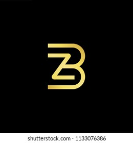 Abstract letter BZ ZB. minimal logo design template. Vector letter logo with gold and black color.