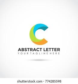 Abstract Letter C Flat Logo Design. Vector Illustrator Eps.10