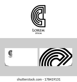 """Abstract letter """"C"""" as labyrinth.Icon design element with business card template"""