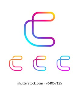 Abstract Letter C Line Monogram Colorful loops logotype, Circle shape, swirl spiral infinity logo symbol, Technology and digital connection