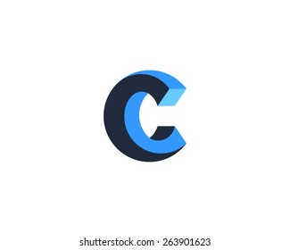 Abstract letter C logo design template. Impossible creative sign. Vector icon.