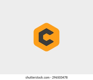 Abstract letter C logo design template. Colorful creative hexagon sign. Universal vector icon.