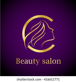 Abstract letter C logo,Gold Beauty salon logo design template