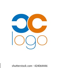Abstract letter C. C lovely logo design template. Vector letter logo with orange and blue color.