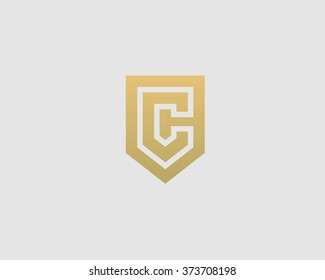 Abstract letter C shield logo design template. Premium nominal monogram business sign. Universal foundation vector icon.