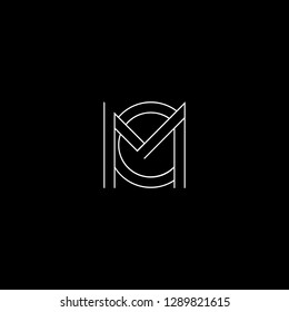 Abstract letter CM MC. Minimal logo design template. Vector letter logo with white and black color.