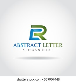 Abstract Letter CR Logo. Blue and green color. Vector illustrator eps.10
