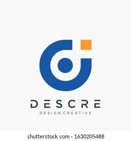abstract letter D DI logo design with human concept. The logo can be used for business consulting and financial companies.- vector
