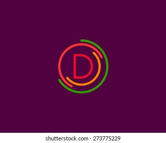 Abstract letter D logo design template. Colorful creative sign. Universal vector icon.