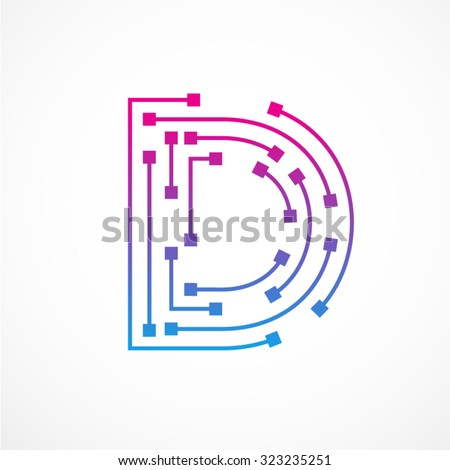 abstract letter d logo design templatetechnologyelectronicsdigitaldot connection cross