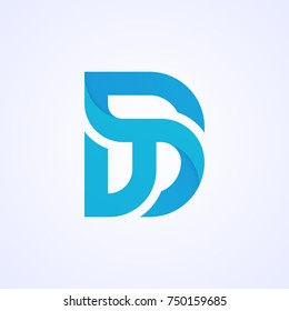 Abstract letter D logo icon vector design. DT logotype. TD company sign.