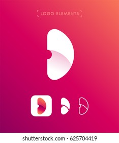 Abstract letter D origami style logo template. Application icon