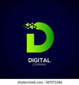 Abstract Letter D Pixel logo with Triangle Shape, Green Arrow Fly Forward Signs, Media Play Symbols, Technology and Digital Connection concept for your Corporate identity Business company