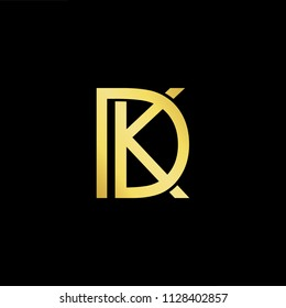 Abstract letter DK KD. minimal logo design template. Vector letter logo with gold and black color.