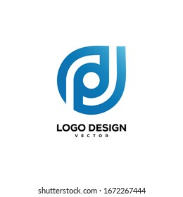 Abstract letter DP. minimal logo design template