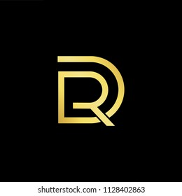 Abstract letter DR RD. minimal logo design template. Vector letter logo with gold and black color.