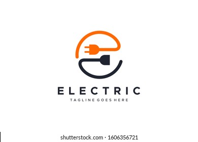 Abstract Letter E Electricity Logo. Flat Vector Logo Design Template Element
