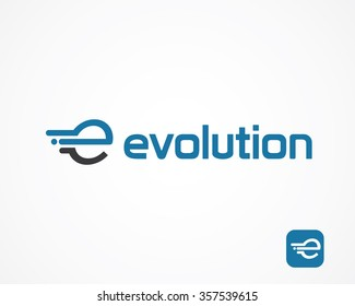 Abstract letter E logo design template, fast speed fire moving water quick energy drop icon