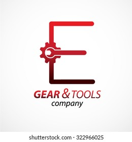 Abstract letter E logo Gear and wrench industrial service logo template icon vector design,Corporate logotype for production or service and maintenance business. Network computers application