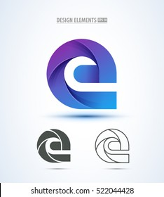 Abstract letter E logo icon set for corporate identity design. Water drop sign.