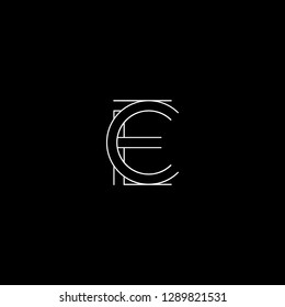 Abstract letter EC CE. Minimal logo design template. Vector letter logo with white and black color.