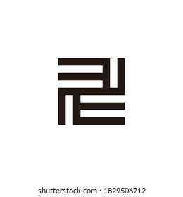 abstract letter ee square geometric line logo vector