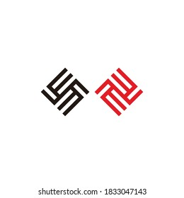 abstract letter EE square geometric linear logo vector