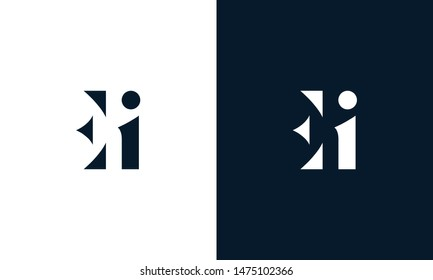 Abstract letter EI logo. This logo icon incorporate with abstract shape in the creative way.