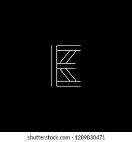 Abstract letter EK KE. Minimal logo design template. Vector letter logo with white and black color.