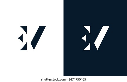 Abstract letter EV logo. This logo icon incorporate with abstract shape in the creative way.