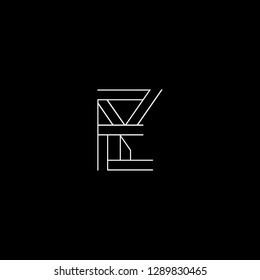Abstract letter EY YE. Minimal logo design template. Vector letter logo with white and black color.