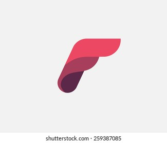 Abstract letter F logo design template. Colorful vector icon.