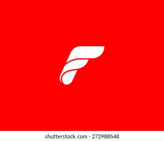 Abstract letter F logo design template. Monochrome wings, ribbons, flow, stream vector icon.